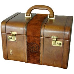 Roberta di Camerino Saddle Leather + Velvet Train Case Beauty Trunk Rare 1970s