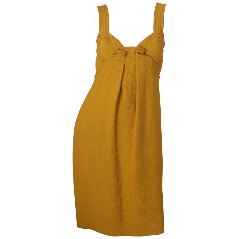 Oscar de la Renta Yellow S/L Dress W/ Front Gathering