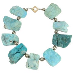Natural Turquoise Druzy Quartz and Sterling Silver Necklace Estate Fine Jewelry