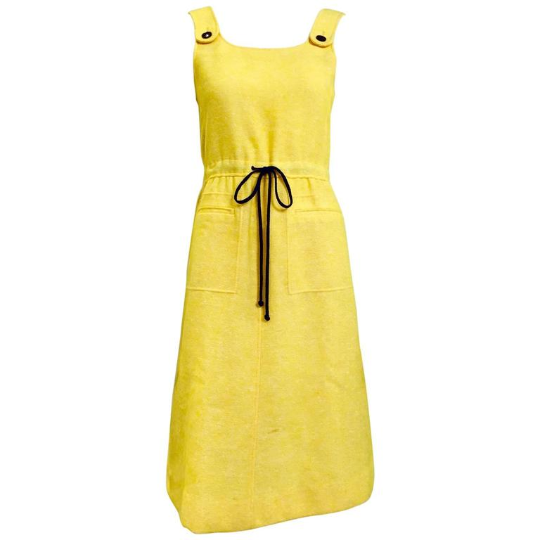 60s Courreges yellow wool dress For Sale