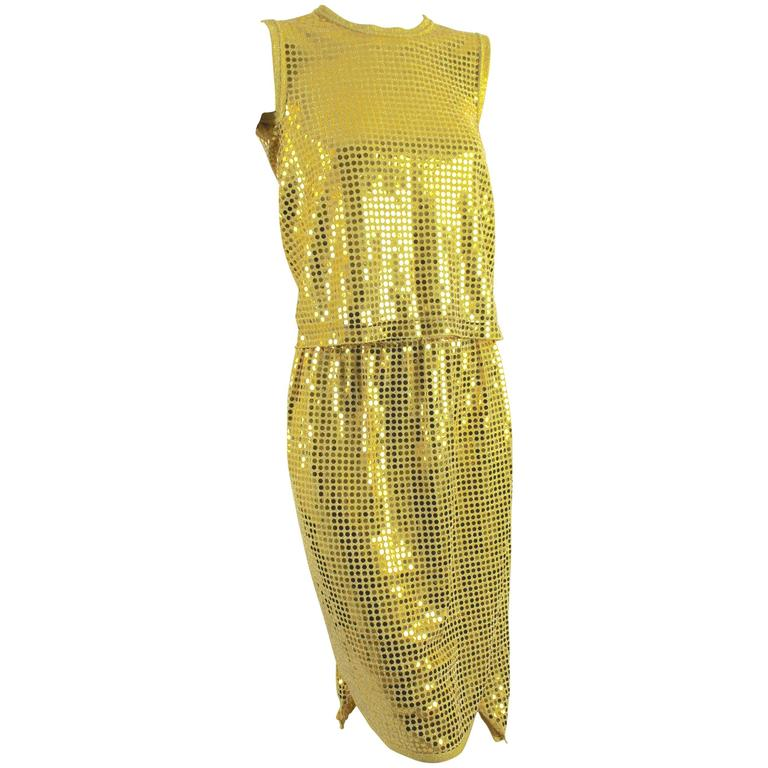 Comme des Garcons AD 2007 Gold Sequin Flat Top and Skirt