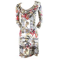 John Galliano Newspaper Print and Flowers Draped Dress