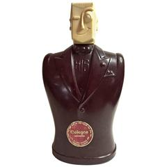 "1940s Figural Glass and Hard plastic Art Deco ""Winking Man"" HIS Cologne Bottle"