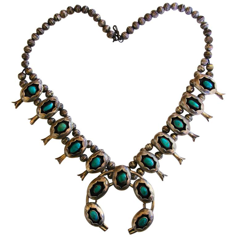 Shadowbox Squash Blossom Sterling Silver And Turquoise Navajo Necklace, 1970s  For Sale