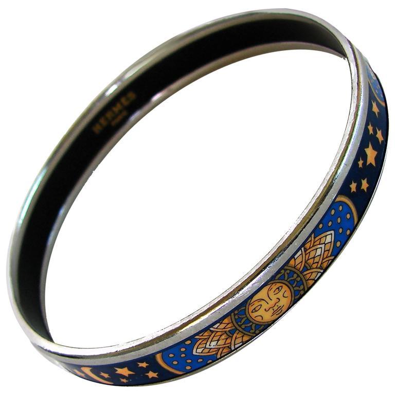 Hermes Sun Moon Stars Printed Enamel + Silver Bracelet Narrow Bangle sz 70 2007  For Sale