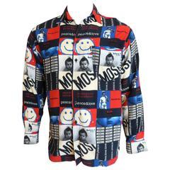 1980's MOSCHINO Men's Peace & Love printed shirt