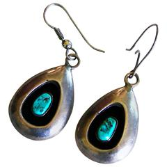 Native American Sterling Silver + Turquoise Shadowbox Earrings 1970s