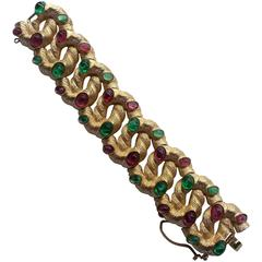 1960s Brushed Gold tone TRIFARI and Faux Emerald and Ruby Cabochon Bracelet