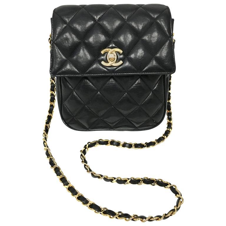 57aa465851ef Vintage Chanel Black Lambskin Leather Mini Cross Body Flap Bag at 1stdibs