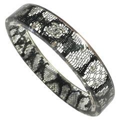 CHANEL Resin Black Lace Pearl Bangle Bracelet Spring 2013P