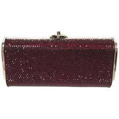 JUDITH LEIBER Silver Framed Red Crystal Minaudiere Clutch Bag