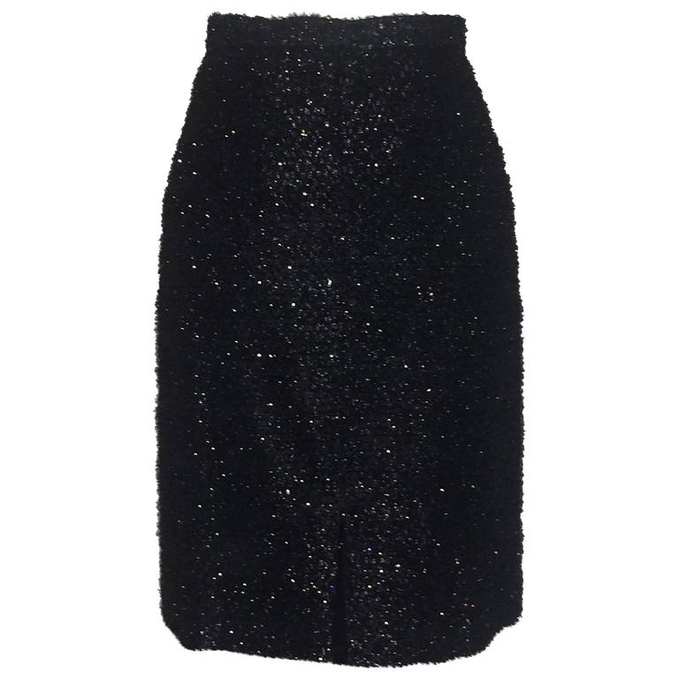 Stephen Sprouse 1980s Black Metallic Eyelash Fringe Pencil Skirt 1
