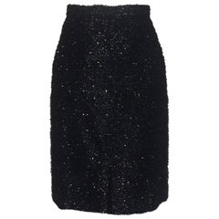 Stephen Sprouse Black Metallic Eyelash Fringe Tinsel Pencil Skirt, 1980s