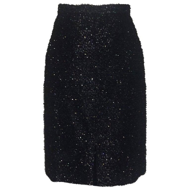 Stephen Sprouse Black Metallic Eyelash Fringe Tinsel Pencil Skirt, 1980s  For Sale
