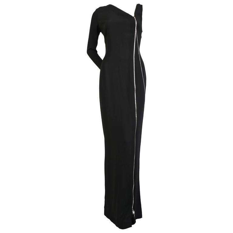 Jean Paul Gaultier one sleeved black crepe dress with zippers