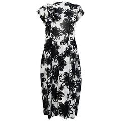 COMME DES GARCONS black and white abstract floral printed dress