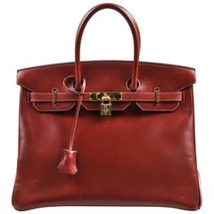 "Hermes Oxblood Red Box Calf Leather 35cm ""Birkin"" Handbag"