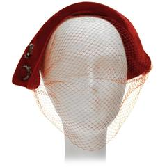 1950s Red Velvet Cocktail Hat with Mirrored Embellishment and Veil