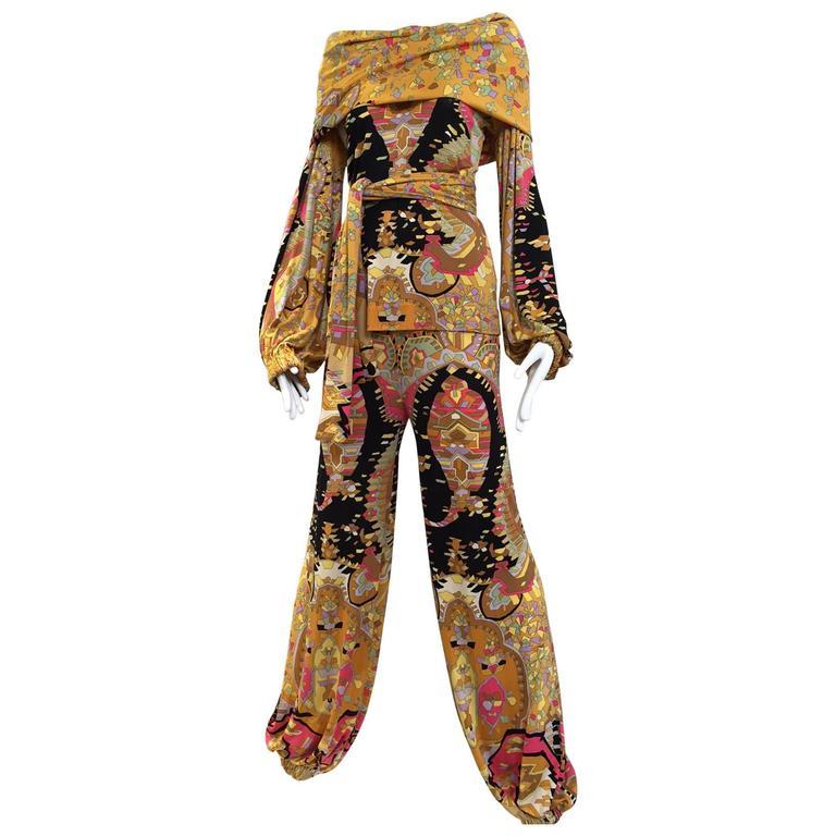 1970s Leonard silk jersey mosaic print blouse and pants set