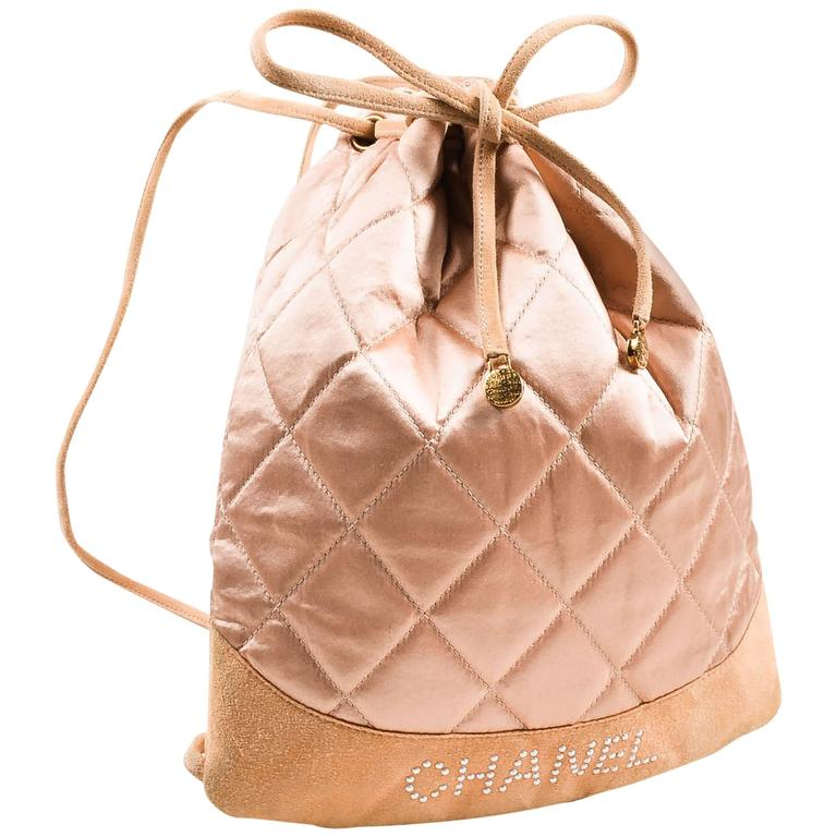 Chanel Blush Pink Suede Satin Quilted Faux Pearl Drawstring Backpack Bag 1