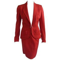 1950s Schiaparelli Tomato Red Wool Gaberdine Skirt Suit