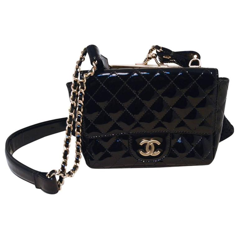Chanel Black Patent Leather Classic And Lace Pouch Shoulder Bag For
