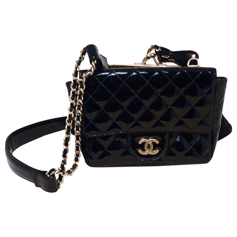 4a14dd92576 Chanel Black Patent Leather Classic and Lace Pouch Shoulder Bag For Sale