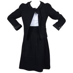 New With Tags Chanel Black Wool Quilted Jacket & Skirt Set SZ 38