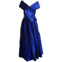 1950s Ceil Chapman Royal Blue Strapless Evening Gown