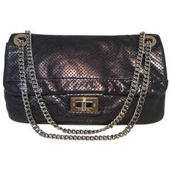 Chanel Charcoal Perforated Leather Classic Flap Shoulder Bag