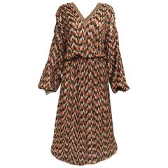 1980s Missoni brown and metallic knit dress