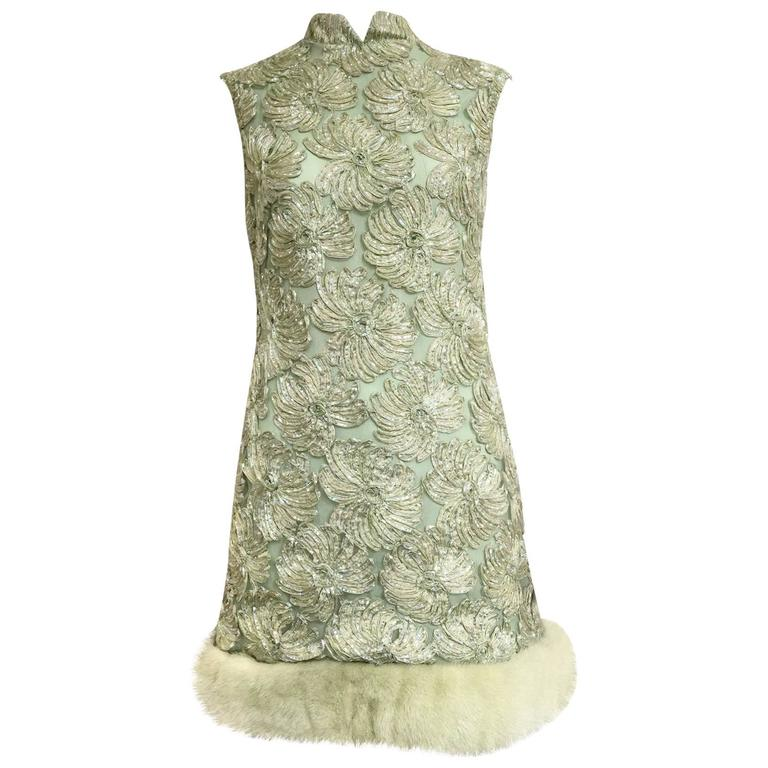 Vintage 1960s mint green silk ribbon embroidered mod mini dress with mink hem