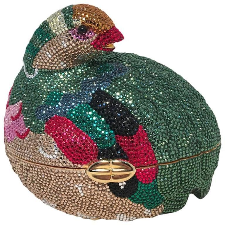 Judith Leiber Colorful Quail Swarovski Crystal Minaudiere