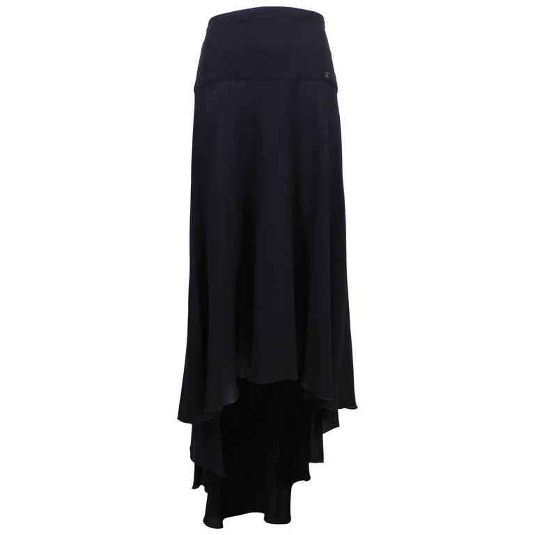 1999 Chanel Black Silk Waterfall Hem Skirt