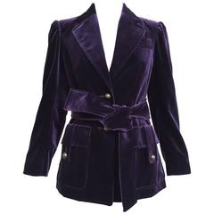 Yves Saint Laurent by Tom Ford Violet velvet safari jacket