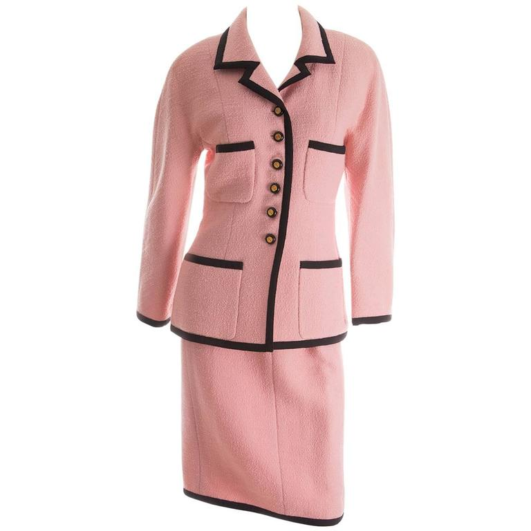 Chanel 1995 Pastel Pink Skirt Suit 1