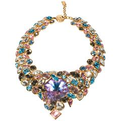 1990's Yves Saint Laurent Gorgeous Bib Necklace With Multicolor Strass