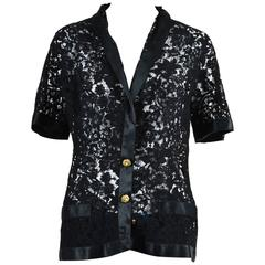Vintage Chanel Boutique Black Lace Satin Camellia Pearl Flower Button Jacket
