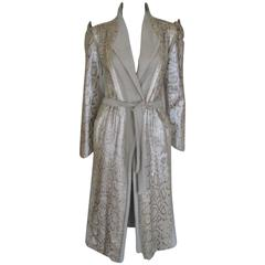 extraordinary python leather and wool belted coat