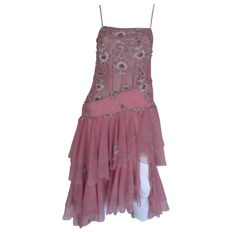 Pierre Cardin pink beaded cocktail dress