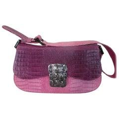 Stuart Weitzman Crocodile Print Pink Leather Bag