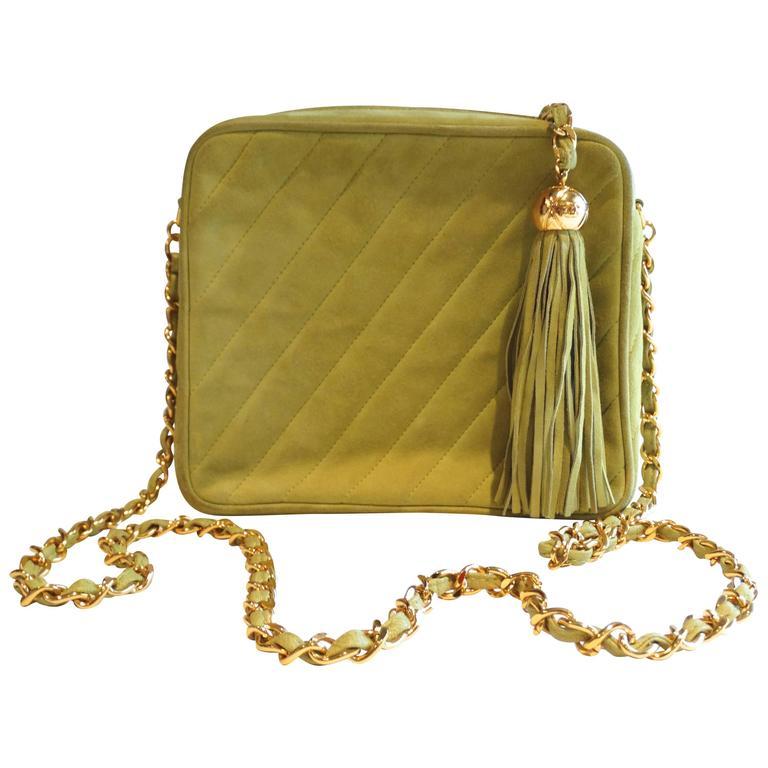 1980s CHANEL Suede Green Tassel Camera Bag  1
