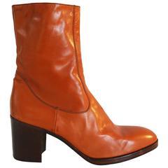 Jocelyn mens orange platform boots in Italian leather, c. 1970s
