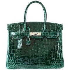 Hermes Birkin 30 Bag Emerald Emeraude Green Crocodile Palladium
