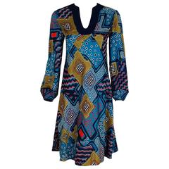 1967 Pierre Cardin Psychedelic Op-Art Print Silk Billow-Sleeves Mod Dress