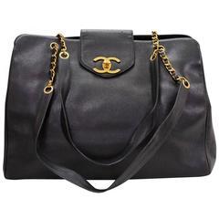 Chanel Vintage Black Caviar Gold Weekender Travel Shopper Tote Flap Shoulder Bag