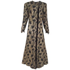 1930s  Black Brocade Gold lamè  Floral Evening Coat