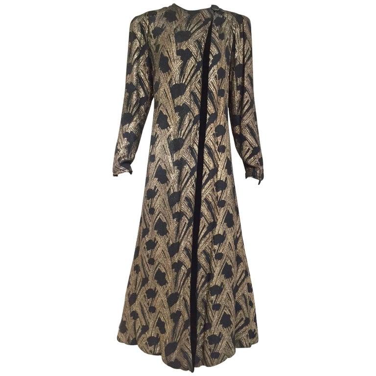 1930s  Black Brocade Gold lamè  Floral Evening Coat For Sale