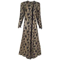 1930s Gold lamè black velvet evening coat