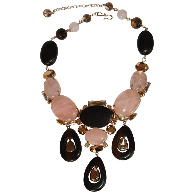 Philippe Ferrandis Glass and Wood Triple Drop Necklace For Sale